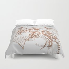 Bronze Animal Skull Abstract Vector Art Duvet Cover