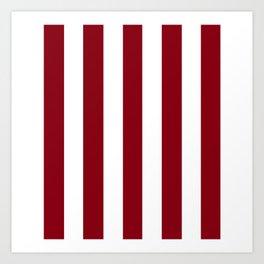 Red devil - solid color - white vertical lines pattern Art Print
