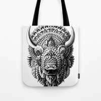 bioworkz Tote Bags featuring Bison by BIOWORKZ