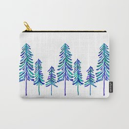 Pine Trees – Navy & Turquoise Palette Carry-All Pouch