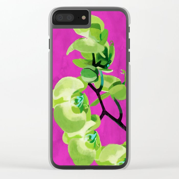 Orchid, green Clear iPhone Case