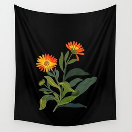 Calendula Officinalis Mary Delany Floral Paper Collage Delicate Vintage Flowers Wall Tapestry