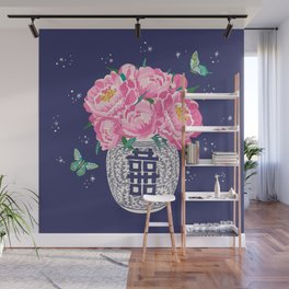 peony bouquet in ginger jar/dark blue Wall Mural
