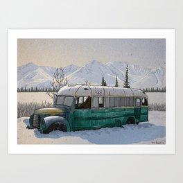 Into the Wild Fairbanks Bus Art Print