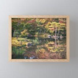 Japanese Garden, colorful in autumn in Kyoto. Framed Mini Art Print