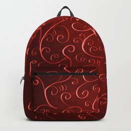 Whimsical Textured Glowing Rusty Red Swirls Backpack