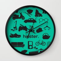 hipster Wall Clocks featuring hipster by tycejones