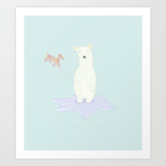 Polar bears love balloons Art Print