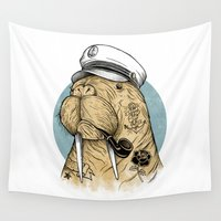 walrus Wall Tapestries featuring WALRUS by Thiago Bianchini