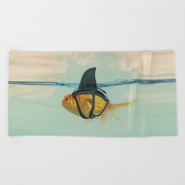 Brilliant DISGUISE - Goldfish with a Shark Fin Beach Towel