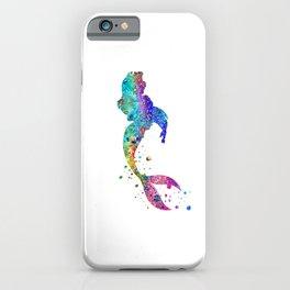 Mermaid Art Colorful Watercolor Gift Ocean Artwork Mermaid Lovers iPhone Case