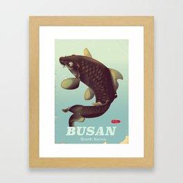 부산 Busan South Korean travel poster Framed Art Print