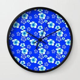 Blue Floral And Turtles Hawaiian Pattern Wall Clock