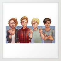 5 seconds of summer Art Prints featuring 5 Seconds of Summer by gabitozati