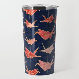 Red origami cranes on navy blue Travel Mug