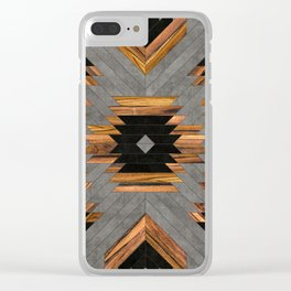Urban Tribal Pattern 6 - Aztec - Concrete and Wood Clear iPhone Case