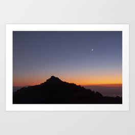 Venus and the Moon. Sierra Nevada at sunset Art Print