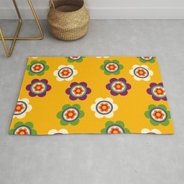 Mexican Colorful Flowers Rug