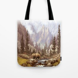Grizzly Bear Landscape Tote Bag
