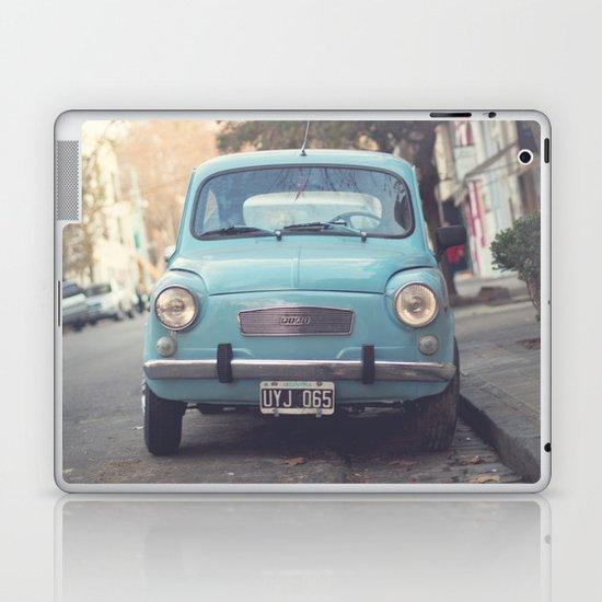 Mint - Blue Retro Fiat Car  Laptop & iPad Skin