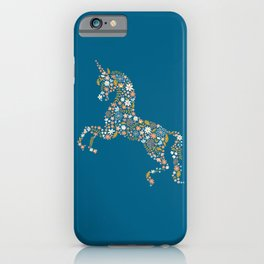 Floral Unicorn in Blue + Coral iPhone Case