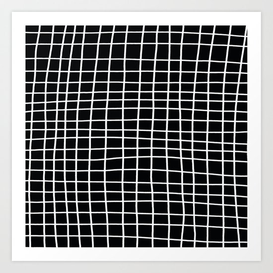 Handdawn Grid Black Art Print