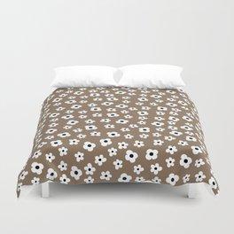 Coffee Brown White Flower Pattern Duvet Cover