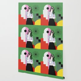 The magic of colours. Aesthetic wall art of young girl taking a selfie with her mobile phone Wallpaper