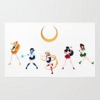 sailor moon Area & Throw Rugs featuring Sailor Moon! by IllustrateKate