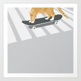 Skateboarding cat Art Print