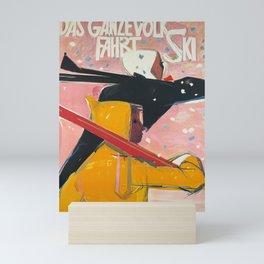 retro poster das ganze volk fahrt ski cff sbb Mini Art Print