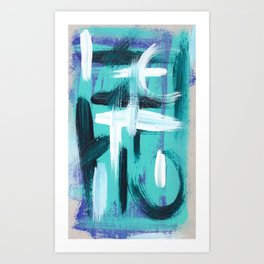 White/turquoise abstract Art Print