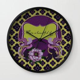 Nouveau Purple Peonies Wall Clock