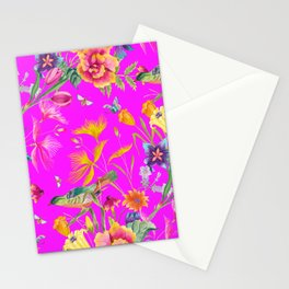 Bold Summer Print on Magenta Pink Stationery Cards