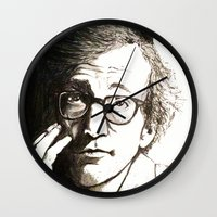 woody allen Wall Clocks featuring Woody Allen by Frances Roughton