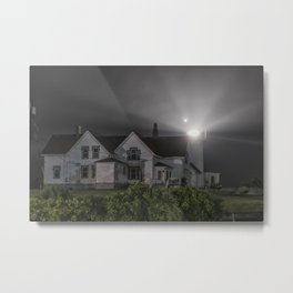 Eastern point lighthouse on a foggy night Metal Print