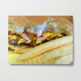 Cheeseburger and Fries Metal Print