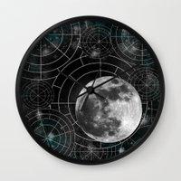 borderlands Wall Clocks featuring Midnight by Astrablink7