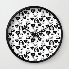 aspri petra white stone heart Wall Clock