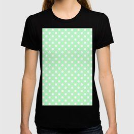 Small Polka Dots - White on Mint Green T-shirt