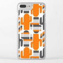 Modern striped cacti Clear iPhone Case
