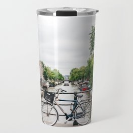 Bicycles in Amsterdam canal Travel Mug