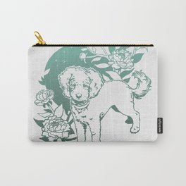 Mini Poodle with Peonies | Mint Turquoise Ombré Carry-All Pouch