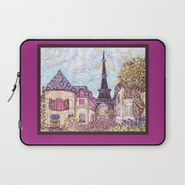 Paris Eiffel Tower inspired landscape pointillism art by Kristie Hubler Laptop Sleeve