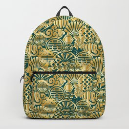 Chinese Symbols in Gold and Emerald Jade Green Backpack