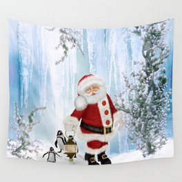 Santa Claus with funny penguin Wall Tapestry