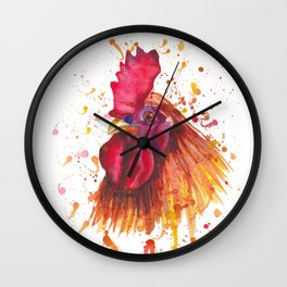 Red rooster portrait Wall Clock