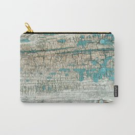 Rustic Wood Turquoise Weathered Paint Wood Grain Carry-All Pouch