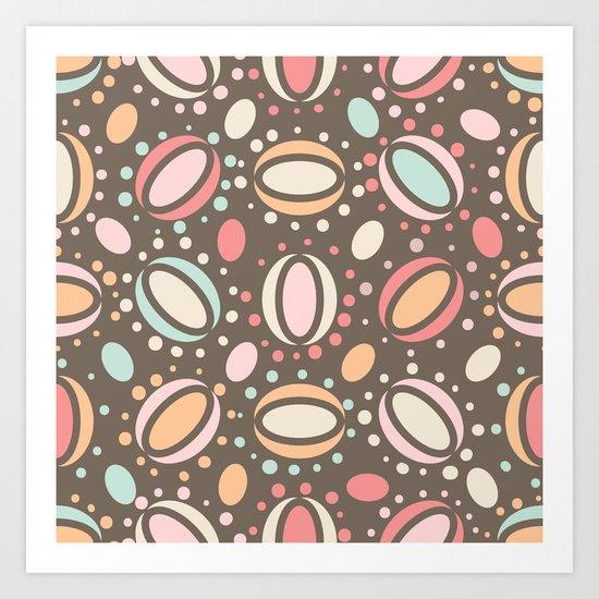 Retro pattern. Beans. Art Print