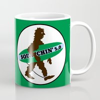 sasquatch Mugs featuring Sasquatch Squatchin' Surfing Bigfoot by mailboxdisco